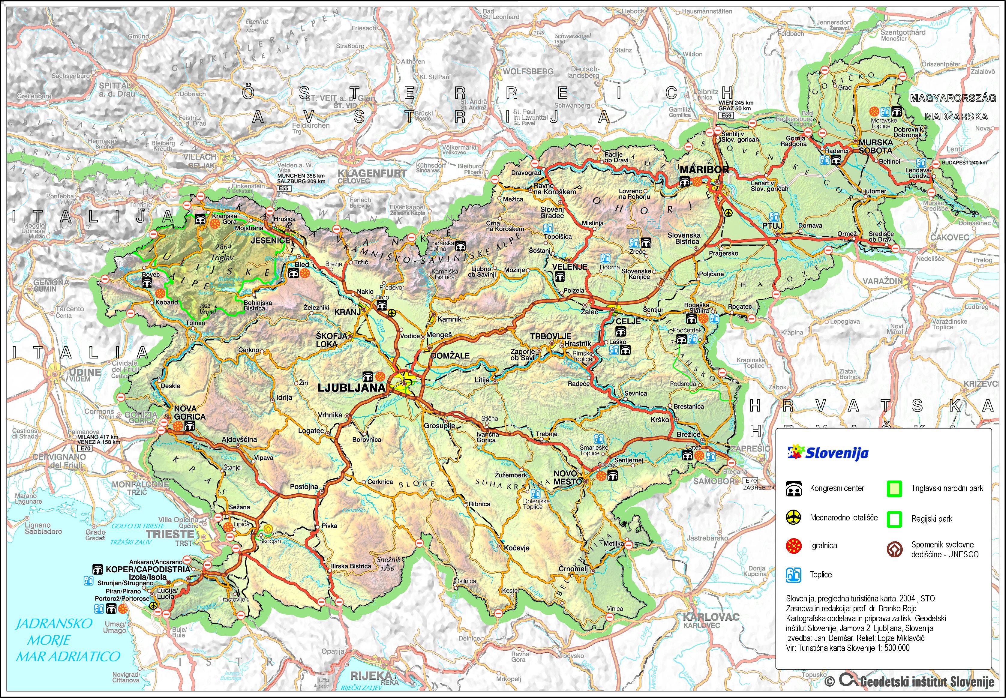 Slovenija Karta Ceste Karta