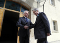 Governor of the Bank of Slovenia Marko Kranjec welcomes the President of the European Central Bank Jean-Claude Trichet