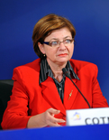 Slovenian Minister of Labour, Family and Social Affairs Marjeta Cotman at the press conference