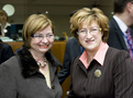 Slovenian minister of labour, family and social affairs Marjeta Cotman and Latvian minister of welfare Iveta Purne
