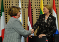 Minister of Labour, Family and Social Affairs Marjeta Cotman and the Chairwoman of the European parliament Committee on Women's Rights and Gender Equality Anna Záborská