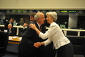 Slovenian Finance Minister and President of the ECOFIN Council Andrej Bajuk  welcomes the French Minister of Economy, Industry and Employment Christine Lagarde
