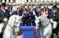 Participants of the EU - USA Summit attending the Lipizzaner riding school programme