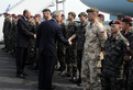 George W. Bush and Janez Janša greet the members of the Slovenian Army