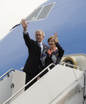 President of the United States and the First Lady embarking on Air Force One