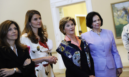 Margarida Sousa Uva Barroso, Spouse of the President of the European Comission, Urška Bačovnik, fiancée of the Prime Minister of the Republic of Slovenia, Laura Bush, Spouse of the President of the United States of America, and Barbara Miklič Türk, Spouse of the President of the Republic of Slovenia