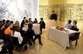 "In the National museum, Barbara Miklič Türk and Laura Bush participated in Student Debate ""Students Should Volunter"""