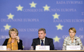 Viviane Reding, Andrej Vizjak and Mojca Kucler Dolinar at the press conference after the Transport, Telecommunications and Energy Council Meeting
