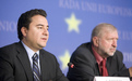 Ministers Babacan and Rupel at the press conference after the accession conference between EU and Turkey