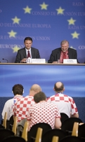 Press Conference in the spirit of EURO 2008: Croatian Minister of Foreign Affairs Gordan Jandroković and Slovenian Minister of Foreign Affairs Dimitrij Rupel