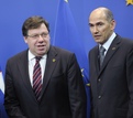 Irish Prime Minister Brian Cowen and the President of the European Council, Slovenian Prime Minister Janez Janša