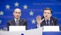 President of the European Council, Slovenian Prime Minister Janez Janša and the President of the European Commission José Manuel Barroso at the Presidency press conference held after the first day of the European Council meeting