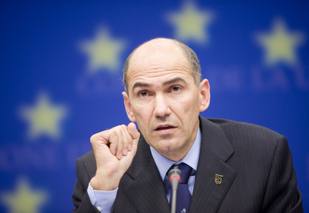 European Council President Janez Janša at the Presidency Press Conference