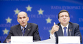 President of the European Commission José Manuel Barroso and Prime Minister of the Republic of Slovenia and President of the European Council Janez Janša at the press conference