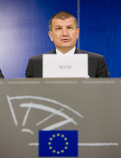 Slovenian Minister of the Interior Dragutin Mate at the Press Conference after the presentation of the achievements of the Slovenian Presidency of the Council in the area of home affairs at the meeting of the European Parliament's LIBE Committee