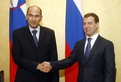 Prime Minister of the Republic of Slovenia and President of the European Council, Janez Janša, and Russian President Dmitry Medvedjev