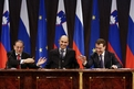 High Representative for the CFSP Javier Solana, Slovenian Prime Minister and President of the European Council, Janez Janša, and Russian President Dmitry Medvedjev at the press conference