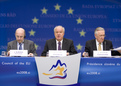 Joaquín Almunia, European Commissioner for Economic and Monetary Policy, Slovenian Finance Minister and the President of the Council,  Andrej Bajuk, and the EU taxation Commissioner László Kovács, European Commissioner responsible for Taxation and Customs Union at the press conference after the ECOFIN meeting