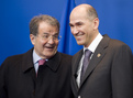 Slovenian PM, President of the European Council, Mr Janez Janša welcomes the Italian Prime Minister Romano Prodi