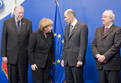 Slovenian Minister of Foreign Affairs Dimitrij Rupel, German Chancellor Angela Merkel, Slovenian PM Janez Janša and Slovenian Minister of Finance Andrej Bajuk