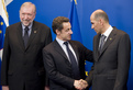 Slovenian Minister of Foreign Affairs Dimitrij Rupel, French President Nicolas Sarkozy and Slovenian Prime Minister Janez Janša
