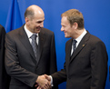 Slovenian PM Janez Janša welcomes the Polish colleague Donald Tusk