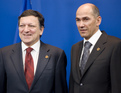 President of the European Commission José Manuel Barroso and Slovenian PM, President of the European Council Janez Janša