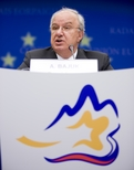 President of the Council Andrej Bajuk during the press conference at the end of the ECOFIN Council meeting