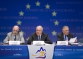 EU Finance Commissioner Joaquin Almunia, Slovenian Finance Minister, President of the Council Andrej Bajuk and EU Taxation Commissioner Laszlo Kovacs during the press conference