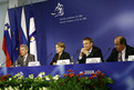Russian Minister Andrej Fursenko, Slovenian Minister  Mojca Kucler Dolinar, European Commissioner Janez Potočnik in the Head of the French delegation Pierre Legueltel at the press conference